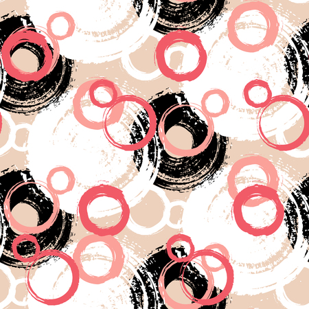 random: Vector pattern with big bold painted circles and bubbles. Colorful hand drawn print for summer fall fashion with random round shapes in 1950s style. Bright coral pink color on black beige background