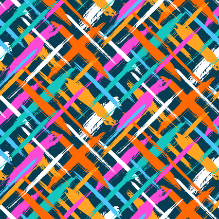 cross hatch: Vector seamless bold plaid pattern with thin diagonal brushstrokes, thin stripes and crosses hand painted in bright colors. Dynamic striped print texture for fall winter retro fashion and sportswear