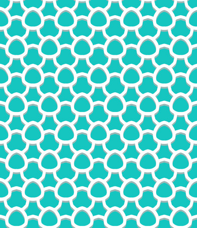 Vector geometric pattern with art deco motifs. Simple vector texture with scales and round shapes in vintage 1920s and 1930s style. Decorative retro background in bright tropical aqua blue color. 向量圖像