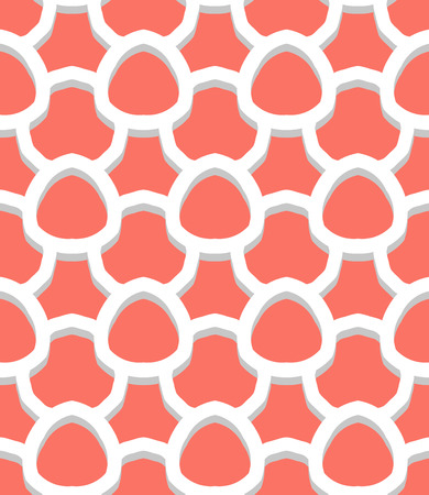 roaring 20s: Vector geometric pattern with art deco motifs. Simple vector texture with scales and round shapes in vintage 1920s and 1930s style. Decorative retro background in bright tropical coral red color.