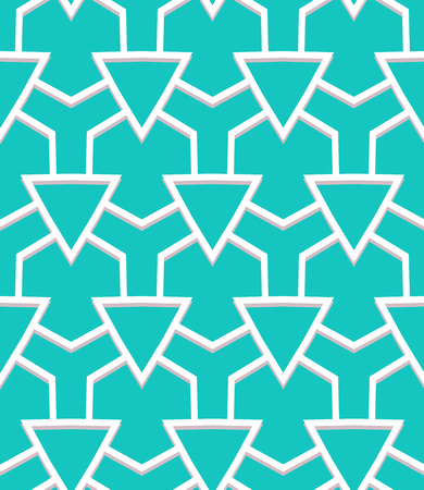 Vector geometric pattern with art deco motifs. Simple vector texture with triangle shapes in vintage 1920s and 1930s style. Decorative retro background in tropical aqua blue color.