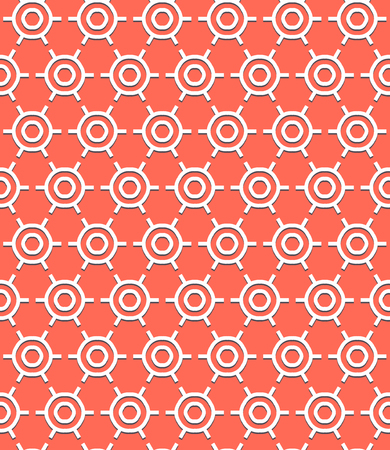 roaring 20s: Vector geometric pattern with art deco motifs. Simple vector texture with round shapes in vintage 1920s and 1930s style. Decorative retro background in bright coral red color.