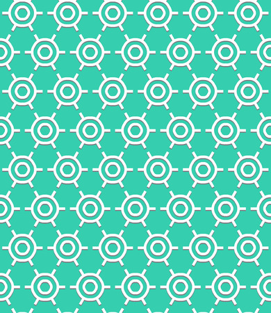 roaring 20s: Vector geometric pattern with art deco motifs. Simple vector texture with round shapes in vintage 1920s and 1930s style. Decorative retro background in bright aqua blue color.