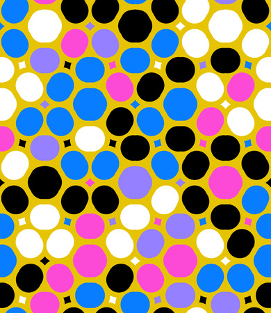 fifties: Ditsy vector polka dot pattern with random circles in bright multiple colors on gold background. Seamless texture in vintage 1960s fashion style. Modern hipster design with round shapes Illustration