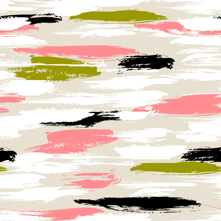 Vector seamless bold pattern with thick brushstrokes and thin stripes hand painted in bright coral red and olive green colors. Dynamic striped print texture for spring summer fashion and sportswear Vettoriali