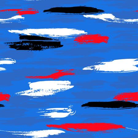 pinceladas: Vector sin patr�n en negrilla con pinceladas gruesas y las rayas delgada mano pintados de color azul brillante a�il. Impresi�n de la textura de rayas din�mica para oto�o invierno de la moda moderna y deportiva