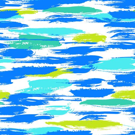 brushstrokes: Vector seamless bold pattern with thick brushstrokes, thin stripes and nautical motifs hand painted in bright colors. Dynamic striped print texture for spring summer modern fashion and sportswear