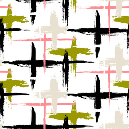 brushstrokes: Vector seamless bold plaid pattern with thin brushstrokes, thin stripes and crosses hand painted in bright colors. Dynamic striped print texture for fall winter retro fashion and sportswear