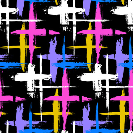 Vector seamless bold plaid pattern with thin brushstrokes, thin stripes and crosses hand painted in bright colors. Dynamic striped print texture for fall winter retro fashion and sportswear
