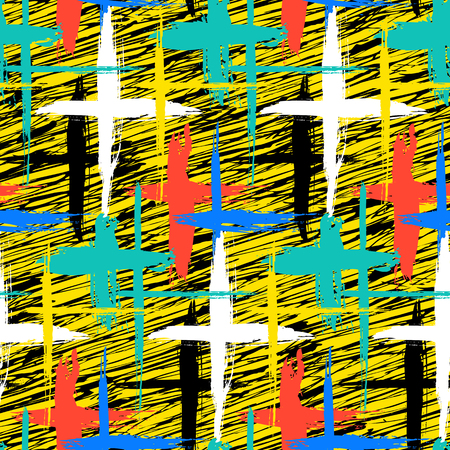 woven: Vector seamless bold plaid pattern with thin brushstrokes, thin stripes and crosses hand painted in bright colors. Dynamic striped print texture for fall winter retro fashion and sportswear