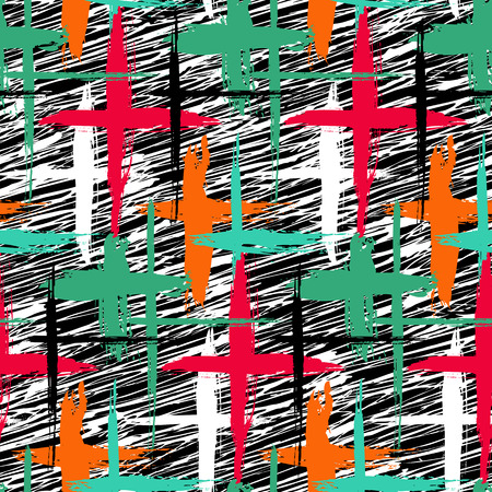 swooshes: Vector seamless bold plaid pattern with thin brushstrokes, thin stripes and crosses hand painted in bright colors. Dynamic striped print texture for fall winter retro fashion and sportswear