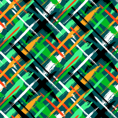 fall winter: Vector seamless bold plaid pattern with thin brushstrokes and thin stripes hand painted in bright green colors. Dynamic striped print texture for fall winter retro fashion and sportswear Illustration