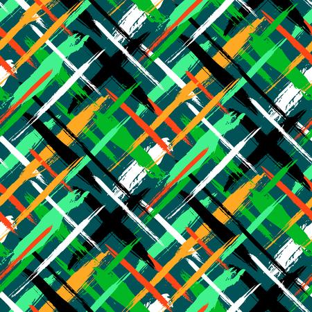 pinceladas: Vector sin patr�n a cuadros en negrilla con pinceladas finas barras y delgada mano pintadas en colores verdes brillantes. Impresi�n de la textura de rayas din�mica para oto�o invierno de la moda retro y ropa deportiva