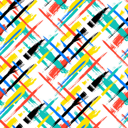 geometric lines: Vector seamless bold plaid pattern with thin brushstrokes and thin stripes hand painted in bright red, green, blue colors. Dynamic striped print texture for fall winter retro fashion and sportswear