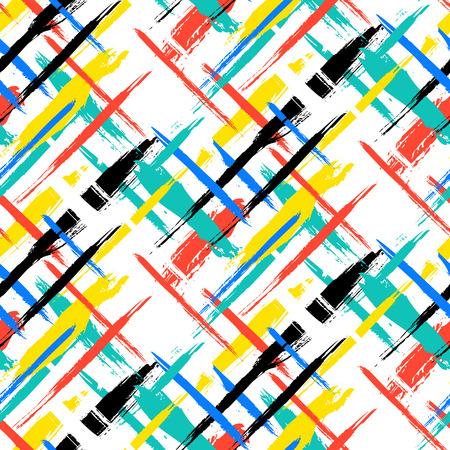 geometria: Vector sin patrón a cuadros en negrilla con pinceladas finas barras y delgada mano, pintados en colores azules, rojos, verdes brillantes. Impresión de la textura de rayas dinámica para otoño invierno de la moda retro y ropa deportiva