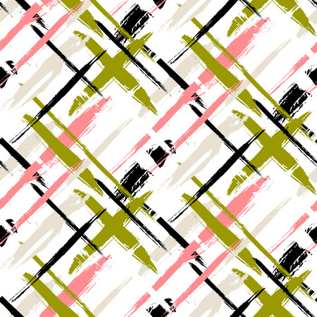 swooshes: Vector seamless bold plaid pattern with thin brushstrokes and thin stripes hand painted in coral red and olive green colors. Dynamic striped print texture for fall winter retro fashion and sportswear Illustration