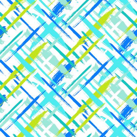 シームレスな大胆な格子縞パターン ベクトル細い筆と明るい色の薄い縞模様描き。動的なストライプ プリント テクスチャ秋冬レトロなファッショ  イラスト・ベクター素材