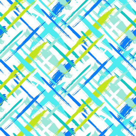 Vector seamless bold plaid pattern with thin brushstrokes and thin stripes hand painted in bright colors. Dynamic striped print texture for fall winter retro fashion and sportswear