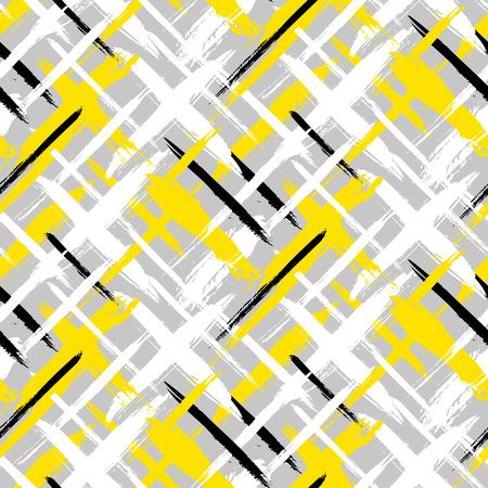 밝은 색상의 페인트 얇은 브러시 스트로크 얇은 줄무늬 손으로 벡터 원활한 굵은 격자 무늬 패턴입니다. 가을 겨울 복고풍 패션 및 스포츠웨어에 대한
