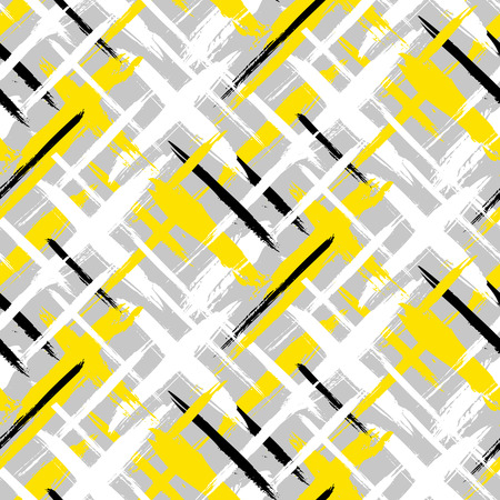 Vector seamless bold plaid pattern with thin brushstrokes and thin stripes hand painted in bright colors. Dynamic striped print texture for fall winter retro fashion and sportswear Reklamní fotografie - 45067354