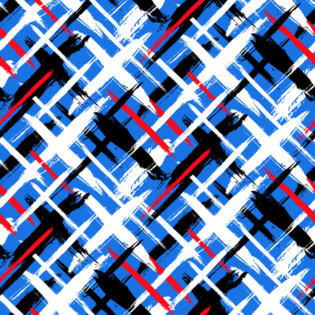 Vector seamless bold plaid pattern with thin brushstrokes and thin stripes hand painted in bright red, blue variety of colors Dynamic striped print texture for fall winter retro fashion and sportswear Ilustrace