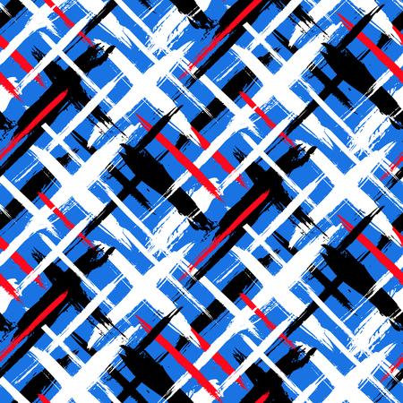 pinceladas: Vector sin patr�n a cuadros en negrilla con pinceladas finas barras y delgada mano pintados en color rojo brillante, variedad azul de los colores de impresi�n de textura de rayas din�mica para oto�o invierno de la moda retro y ropa deportiva