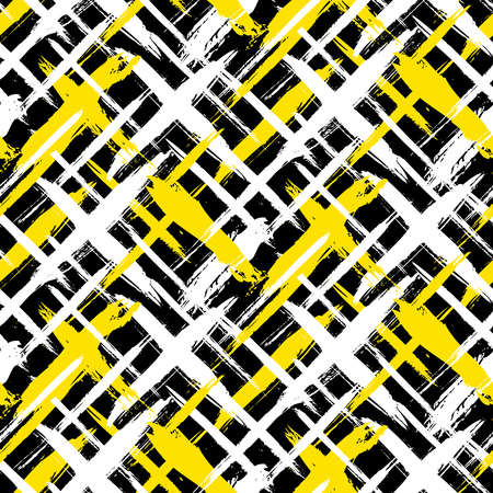 diagonal: Vector seamless bold plaid pattern with thin brushstrokes and thin stripes hand painted in bright colors. Dynamic striped print texture for fall winter retro fashion and sportswear
