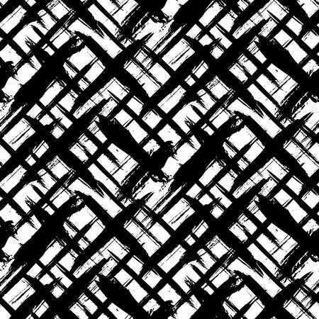Vector seamless bold Schottenkaro-Muster mit dünnen Pinselstriche und dünne Streifen Hand in schwarzen und weißen Farben gemalt. Dynamische gestreiften Print Textur für Herbst Winter Retro-Mode und Sportbekleidung Standard-Bild - 45151423