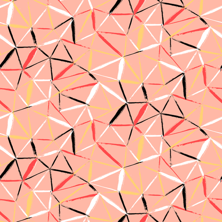 brushstrokes: Vector seamless bold plaid pattern with thin diagonal brushstrokes, thin stripes and triangles hand painted in soft coral red colors. Dynamic print texture for fall winter retro fashion and sportswear