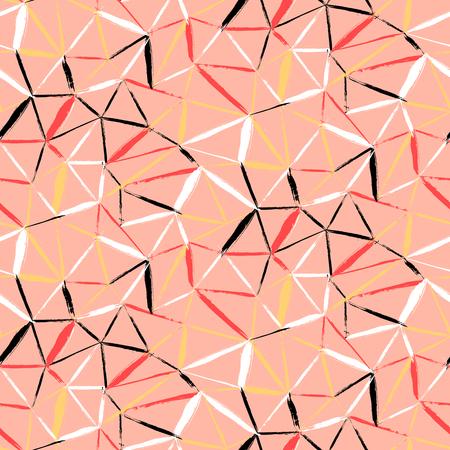 pinceladas: Vector sin patr�n a cuadros en negrilla con pinceladas finas diagonales, rayas finas y tri�ngulos pintados a mano en colores rojo coral blando. Textura de impresi�n din�mica para oto�o invierno de la moda retro y ropa deportiva