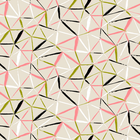 Vector seamless bold plaid pattern with thin diagonal brushstrokes, thin stripes and triangles hand painted in soft organic colors. Dynamic print texture for fall winter retro fashion and sportswear Illustration