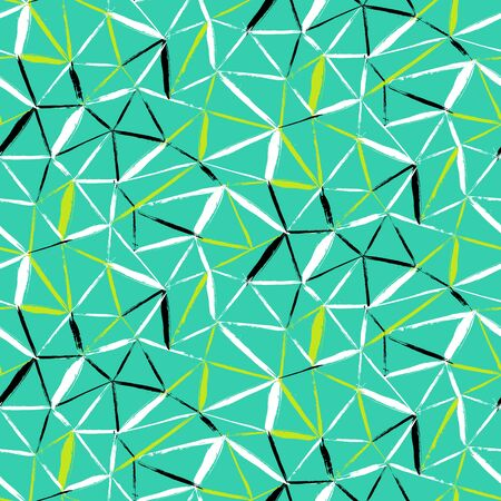 brushstrokes: Vector seamless bold plaid pattern with thin diagonal brushstrokes, thin stripes and triangles hand painted in bright color. Dynamic nautical print texture for fall winter retro fashion and sportswear Illustration