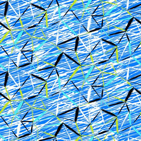 シームレスな大胆な格子縞パターン ベクトル薄い斜め筆、薄い縞模様と鮮やかな青い色に塗られた三角形手。動的な印刷テクスチャ秋冬レトロなフ