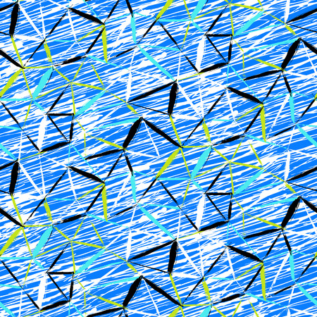 swooshes: Vector seamless bold plaid pattern with thin diagonal brushstrokes, thin stripes and triangles hand painted in bright blue colors. Dynamic print texture for fall winter retro fashion and sportswear Illustration