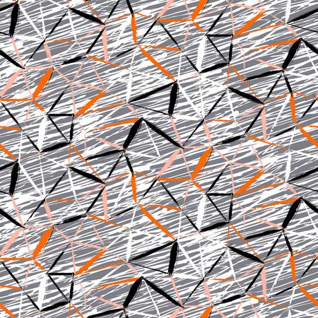 Vector naadloze gewaagde plaid patroon met dunne diagonale penseelstreken, dunne strepen en driehoeken met de hand geschilderd in grijs en oranje kleur. Dynamische print textuur voor de herfst winter retro fashion en sportkleding