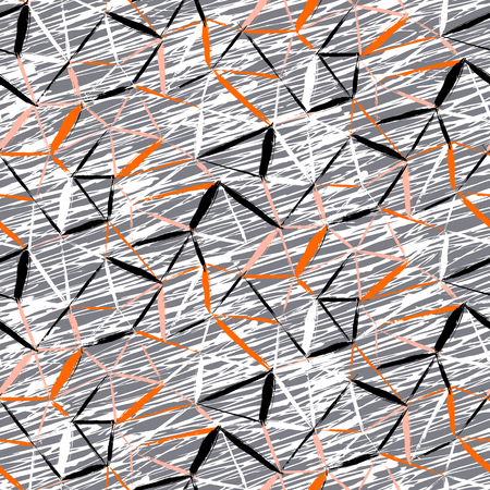fall winter: Vector seamless bold plaid pattern with thin diagonal brushstrokes, thin stripes and triangles hand painted in grey and orange color. Dynamic print texture for fall winter retro fashion and sportswear Illustration