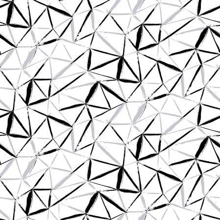 흑백 색상으로 페인트 얇은 사선 브러시 스트로크, 얇은 줄무늬와 삼각형 손으로 벡터 원활한 굵은 격자 무늬 패턴입니다. 가을 겨울 복고풍 패션 및