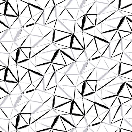 Vector naadloze gewaagde plaid patroon met dunne diagonale penseelstreken, dunne strepen en driehoeken met de hand geschilderd in zwart-witte kleur. Dynamische print textuur voor de herfst winter retro fashion en sportkleding Stock Illustratie