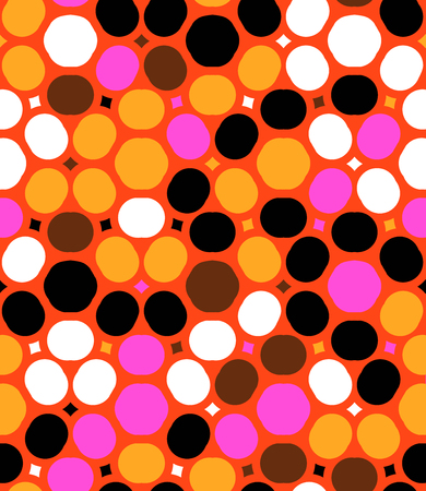 polka dot pattern: Ditsy vector polka dot pattern with random circles in bright multiple colors on red background. Seamless texture in vintage 1960s fashion style. Modern hipster design with round shapes