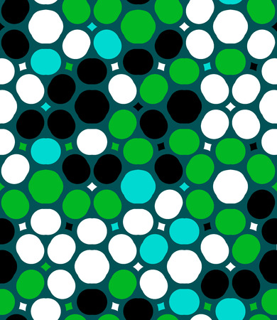 90s: Ditsy vector polka dot pattern with random circles in bright multiple colors on green background. Seamless texture in vintage 1960s fashion style. Modern hipster design with round shapes