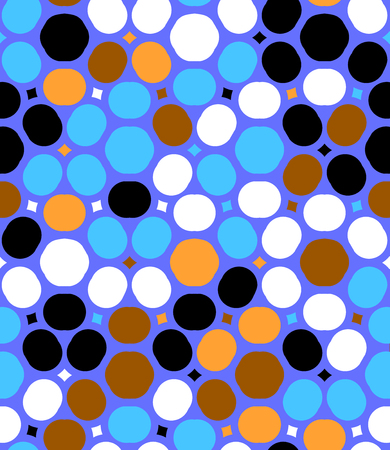 Ditsy vector polka dot pattern with random circles in bright multiple colors on violet background. Seamless texture in vintage 1960s fashion style. Modern hipster design with round shapes