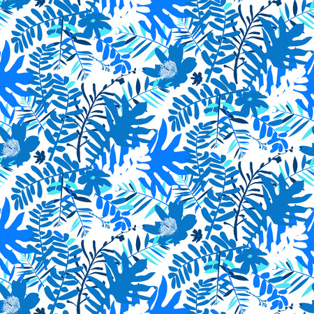winter colors: Vector seamless pattern with leafs and flowers inspired by tropical nature and plants like palm trees and ferns in bright colors for fall winter fashion. Colorful floral print, texture and background Illustration
