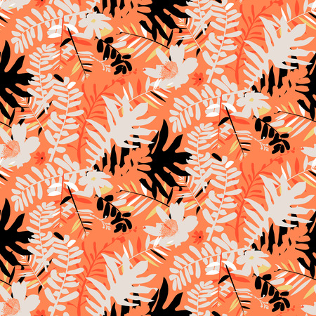 fall winter: Vector seamless pattern with leafs and flowers inspired by tropical nature and plants like palm trees and ferns in bright colors for fall winter fashion. Colorful floral print, texture and background Illustration
