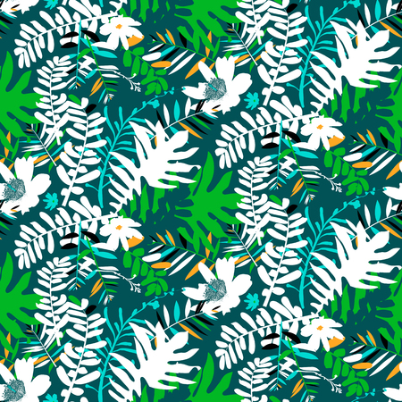 grunge floral: Vector seamless pattern with leafs and flowers inspired by tropical nature and plants like palm trees and ferns in bright colors for fall winter fashion. Colorful floral print, texture and background Illustration