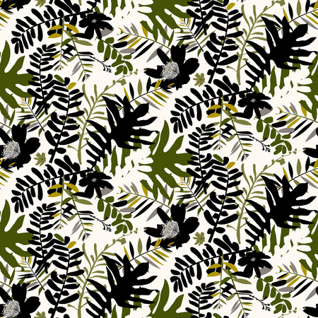 frond: Vector seamless pattern with leafs and flowers inspired by tropical nature and plants like palm trees and ferns in bright colors for fall winter fashion. Colorful floral print, texture and background Illustration