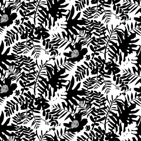 white flowers: Vector seamless pattern with leafs and flowers inspired by tropical nature and plants like palm tree and ferns in black and white for fall winter fashion. Floral print, texture and background
