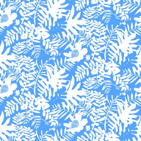 inspired: Vector seamless pattern with leafs and flowers inspired by tropical nature and plants like palm trees and ferns in bright blue color for fall winter fashion. Floral print, texture and background