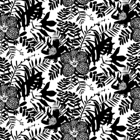 inspired: Vector seamless pattern with leafs and orchid flowers inspired by tropical nature and plants like palm tree and ferns in black and white for fall winter fashion. floral print, texture and background Illustration