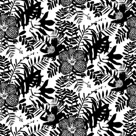 wintermode: Vektor nahtlose Muster mit Bl�ttern und Orchideen Blumen inspiriert durch tropische Natur und Pflanzen wie Palmen und Farne in schwarz und wei� f�r Herbst Winter Mode. Blumenmuster, Textur und Hintergrund
