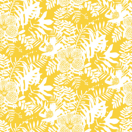 Vector seamless pattern with leafs and flowers inspired by tropical nature and plants like palm trees and ferns in bright colors for fall winter fashion. Colorful floral print, texture and background Illustration